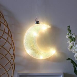Hanging Iridescent Sparkle Glass LED Moon Light