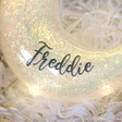 Lisa Angel Personalised Name Hanging Iridescent Sparkle Glass LED Moon Light