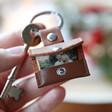 Lisa Angel Unisex Personalised Leather Envelope Keyring with Hidden Photo Charm