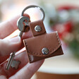 Personalised Leather Envelope Keyring with Hidden Photo Charm