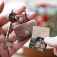 Men's Personalised Leather Envelope Keyring with Hidden Photo Charm