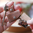 Personalised Engraved Leather Envelope Keyring with Hidden Photo Charm