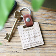 Lisa Angel Engraved Personalised Wooden Calendar and Leather Strap Keyring