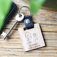 Lisa Angel Engraved Personalised Wooden 'Your Drawing' Leather Strap Keyring