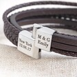 Lisa Angel Men's Brown Personalised Layered Vegan Leather Straps Bracelet