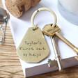 Lisa Angel Teen's Personalised 'First Keys' Antiqued Brass Keyring