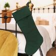 Lisa Angel Green Linen Christmas Stocking