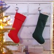 Red and Green Linen Christmas Stockings