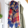 Lisa Angel Ladies' Blue and Red Tartan Scarf