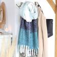 Lisa Angel Blue Block Stripe Blanket Scarf