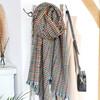 Lisa Abgel Ladies' Deep Green and Red Herringbone Blanket Scarf