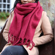 Deep Red Recycled Oversized Scarf on Model