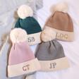 Lisa Angel Embroidered Initials Soft Knit Pom Pom Beanie Hats
