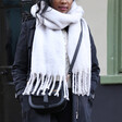 Grey Recycled Oversized Scarf on Model