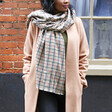 Mustard and Green Check Blanket Scarf on Model