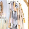 Lisa Angel Ladies' Orange Check Blanket Scarf