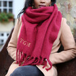 Personalised Embroidered Initials Dark Red Recycled Oversized Scarf on Model