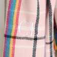 Lisa Angel Big Personalised Embroidered Rainbow and Pink Tartan Blanket Scarf