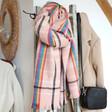 Teen's Rainbow and Pink Tartan Blanket Scarf