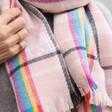 Rainbow and Pink Tartan Blanket Scarf on Model