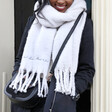 Personalised Embroidered 'Your Handwriting' Recycled Oversized Scarf on Model