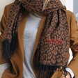 Personalised Embroidered Year Animal Print Blanket Scarf in Camel on Model