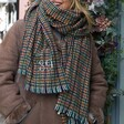 Personalised Embroidered Year Green and Red Herringbone Blanket Scarf on Model