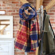 Lisa Angel Ladies' Personalised Embroidered Blue and Red Tartan Scarf