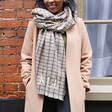 Personalised Embroidered Initials Mustard and Green Check Blanket Scarf on Model