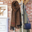 Lisa Angel Ladies' Personalised Embroidered Year Animal Print Blanket Scarf in Camel