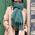 Recycled Green Oversized Scarf on Model