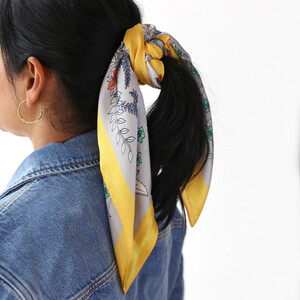 Satin Floral Wrap Scarf