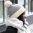 Soft Knit Pom Pom Beanie Hat in Grey on Model