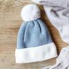 Lisa Angel Ladies' Soft Knit Pom Pom Beanie Hat in Grey