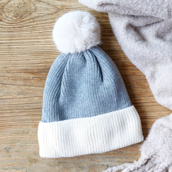 Soft Knit Pom Pom Beanie Hat in Grey
