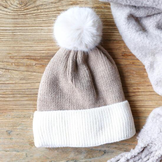 Soft Knit Pom Pom Beanie Hat in Neutral Beige