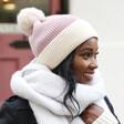 Soft Knit Pom Pom Beanie Hat in Dusky on Model