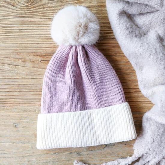 Soft Knit Pom Pom Beanie Hat in Purple