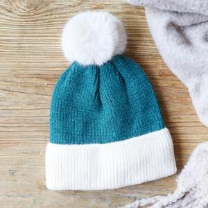 Soft Knit Pom Pom Beanie Hat in Teal