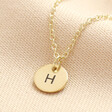 Lisa Angel Ladies' Luxury Personalised Solid Gold Initial Disc Charm Necklace