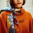 Model Wears Ladies' Powder Autumn Floral Print Scarf
