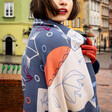 Model Wears Ladies' Powder Scandi Fox and Hare Print Scarf
