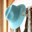 Lisa Angel with Powder Embroidered Leaf Fedora Hat in Teal