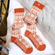 Lisa Angel Powder Long Fair Isle Boot Socks in Tangerine