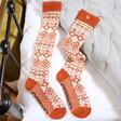 Lisa Angel Ladies' Powder Long Fair Isle Boot Socks in Tangerine