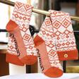 Lisa Angel Powder Knitted Long Fair Isle Boot Socks in Tangerine