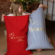 Personalised Starry Name Drawstring Christmas Sacks with Models