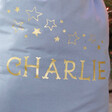 Close up of Personalised Starry Name Drawstring Christmas Sack