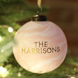 Personalised Family Name  Marble Bauble