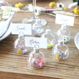 Set of 6 Iridescent Bauble Dried Flower Place Card Holders